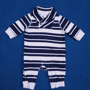 0-3M Old Navy Striped Onesie Navy and Beige